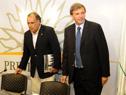 Ministro de Turismo y Deporte, Héctor Lescano, presidente de la AUF, Sebastián Bauzá.