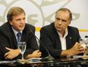Presidente de la AUF, Sebastián Bauzá, Minstro de Turismo y Deporte, Héctor Lescano.