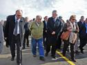 Presidente José Mujica y autoridades del gobierno llegando a la inauguracón