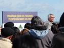 Ministro de Transporte, Enrique Pintado dirigiéndose a los presentes
