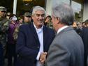 Presidente Tabaré Vázquez saludando a al Intendente electo de Soriano, Agustín Bascou