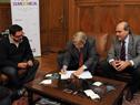 Diputados Alejandro Sánchez, Ope Pasquet y Pablo Abdala durante la firma del anteproyecto de ley