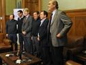 Diputados Iván Posadas, Alejandro Sánchez, Ope Pasquet y Pablo Abdala luego de la firma del anteproyecto de ley