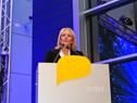 Ministra de Industria y Energía, Carolina Cosse, dirigiéndose a los presentes