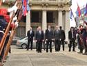 Presidente Alemán llega a la Plaza Independencia donde colocaría, minutos después una ofrenda floral al pie del monumento a José Gervasio Artigas