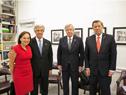 Susan Segal, presidenta del Council of the Americas, Presidente Tabaré Vázquez y ministros Danilo Astori y Rodolfo Nin Novoa