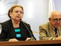 Subsecretaria de Educación y Cultura, Edith Moraes junto al consejero de la Universidad Tecnológica,  Roberto Markarián
