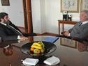 Presidente Vázquez en reunión con presidente del PIT-CNT, Fernando Pereira