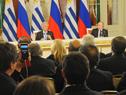 Presidentes Tabaré Vázquez y Vladimir Putin durante la conferencia de prensa