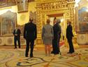 Presidentes Tabaré Vázquez y Vladimir Putin durante la recorrida por salones del Kremlin