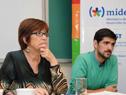 Ministra Marina Arismendi junto a Santiago Soto, director del INJU