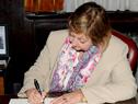 Ministra Liliam Kechichian, durante la firma