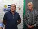 El titular de Transporte, Víctor Rossi, junto al intendente de Montevideo, Daniel Martínez, se dirige a los presentes