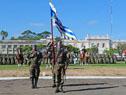 Al iniciarse el acto, el presidente, junto al comandante Guido Manini Ríos, pasó revista a las tropas formadas en el campo