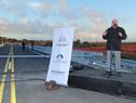 Ministro deTransporte y Obras Públicas, Víctor Rossi, dirigiéndose a los presentes