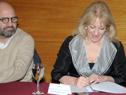 Ministra Carolina Cosse, durante la firma de convenio