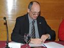 Presidente de UTE, Gonzalo Casaravilla, durante la firma de convenio