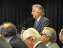 Presidente Tabaré Vázquez en la sala de prensa de la Torre Ejecutiva