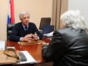 Tabaré Vázquez y Lucía Topolansky dialogan en la oficina presidencial de Suárez y Reyes