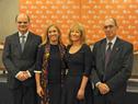 Presidente de Antel, Andrés Tolosa, presidenta de Ancap, Marta Jara, ministra de Industria, Carolina Cosse, y presidente de UTE, Gonzalo Casaravilla