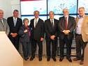 Victor Rossi, Tabaré Vázquez, Daniel Martínez, y Eduardo Bonomi en la sede principal de Cutcsa