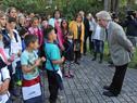 Presidente Tabaré Vázquez junto a escolares