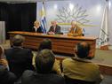 Ministros Carolina Cosse, Tabaré Aguerre y Danilo Astori, en conferencia de prensa