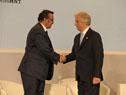 Tabaré Vázquez y Tedros Adhanom Ghebreyesus se saludan