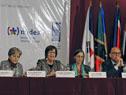 Ministra Marina Arismendi durante su oratoria