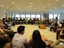 Prosecretario Roballo con alumnos del liceo n.º 11 del barrio Cerro de Montevideo