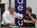 Ministro de Trabajo, Ernesto Murro, en diálogo previo al inicio de una de las audiencias