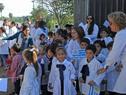 Escolares esperan al Presidente