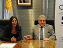 Director de la Oficina Nacional del Servicio Civil, Alberto Scavarelli, en diálogo con la directora del Inumet, Madeleine Renom