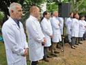 Autoridades del Hospital Pereira Rossell, durante el inicio del acto de inauguración