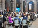Autoridades internacionales asistentes la conferencia brindada por el presidente Tabaré Vázquez