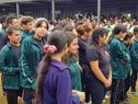 Estudiantes del centro educativo asociado ubicado en el barrio Puntas de Manga, de Montevideo (Foto: twitter de ANEP)
