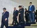 Presidente Tabaré Vázquez junto a sus pares de Argentina y Bolivia, Mauricio Macri y Evo Morales
