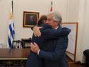Presidente de la República, Tabaré Vázquez, saluda al intendente de Montevideo, Daniel Martínez