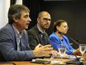Director de OPP, Álvaro García, prosecretario de la Presidencia, Juan Andrés Roballo, y la ministra interina de Educación, Edith Moraes
