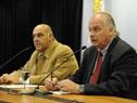 Presidente de la Cámara de Industrias, Gabriel Murara, y vicepresidente de la Cámara de Comercio y Servicios, Daniel Sapelli