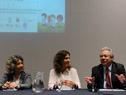 Directora de Inmujeres, Mariela Mazotti, la representante de ONU Mujeres, Magdalena Furtado y el director del CAF en Uruguay, Germán Ríos