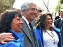 Tabaré Vázquez y Enzo Benech con directiva de la Asociación Rural del Uruguay