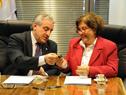 Alberto Scavarelli y Alex Mazzei, junto a autoridades, en firma de convenio