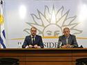 Juan Andrés Roballo y Miguel Ángel Toma en declaraciones a la prensa luego del Consejo de Ministros