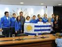 María Auxiliadora Delgado y Pablo Hernández, junto a deportistas que participarán del Mundial de Tenis de Olimpíadas Especiales en Santo Domingo