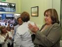 Autoridades durante el descubrimiento de placa en acto de inauguración de obras de remodelación del jardín de infantes Nª 116 de Dolores