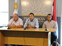 Representantes del Centro de Viticultores del Uruguay en conferencia de prensa