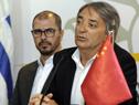 Titular de la Secretaría Nacional del Deporte, Fernando Cáceres, haciendo uso de la palabra