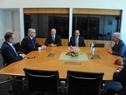 Presidente Vázquez, secretario Toma y prosecretario Roballo con principales jerarcas de UPM