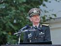 Nuevo comandante en jefe del Ejército Nacional de Uruguay, José Ariel González, haciendo uso de la palara
